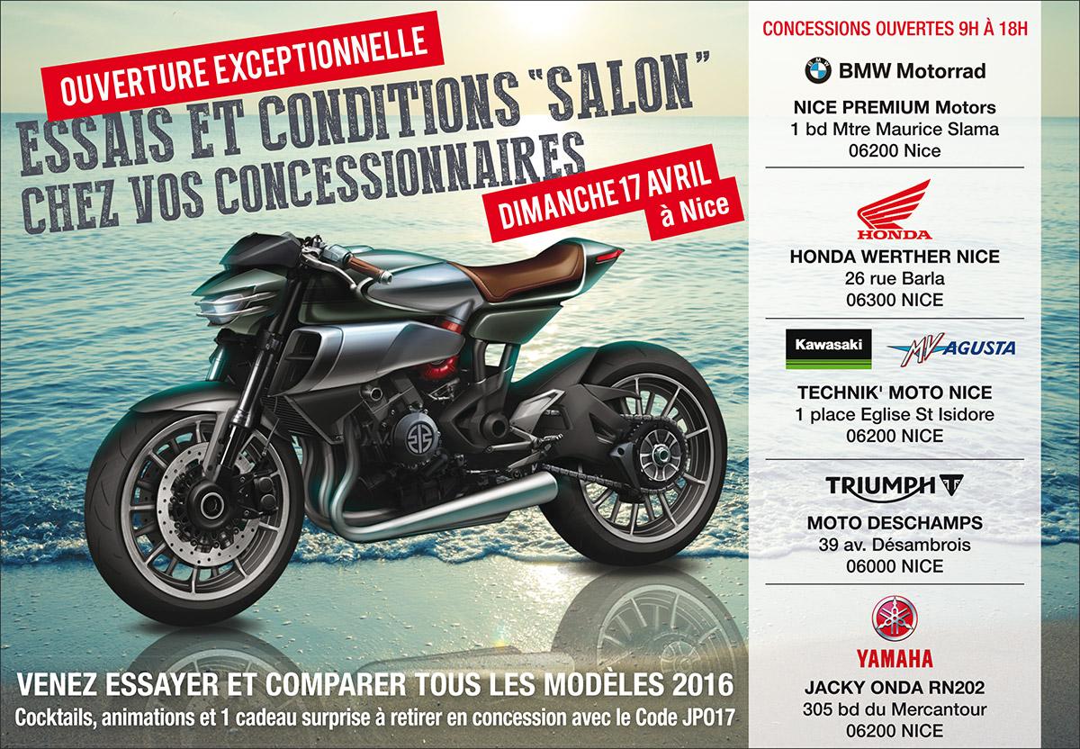 Ouverture exceptionnelle conditions salon Dimanche 17 Avril chez Honda Werther Nice
